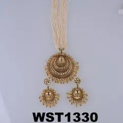 Party Wear Traditional WST1330 Golden Plated Necklace Set
