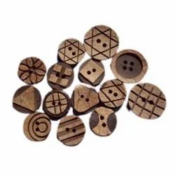 Brown Round Fancy Wooden Coconut Buttons