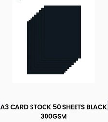 Paper A3 Card Stock 50 Sheets Black 300GSM