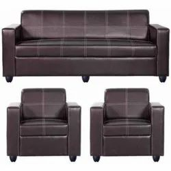 Black Leather Modern Office Sofa Set, For Sitting, Seating Capacity: 5 Seater