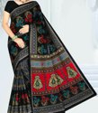Party Wear Ladies Black Printed Cotton Saree, With Blouse Piece, 6.3 Meter