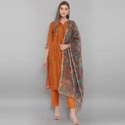 Janasya Women's Rust Art Silk Kurta With Pant And Dupatta (SET224)