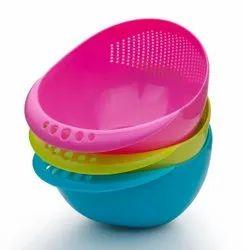 Round Plastic Rice Washing Bowl, For Home, Size: Medium Size
