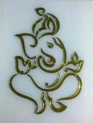 Multicolor Ganesh pasting work Glass, For Office, Thickness: 5 -10 Mm