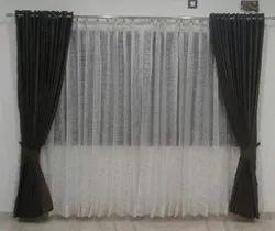 Printed Loop Brown Window Curtain