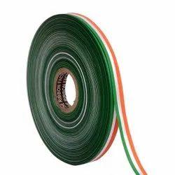 Double Satin Medallion - Green, White, Orange Ribbons 12mm / 20mtr Length