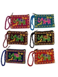 Canvas Cotton Multicolor Embroidered Mobile Purse, Size: 3x1.5 Inch