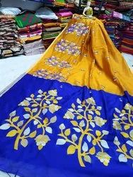 Party Wear Printed Dual Colour Saree, With blouse piece