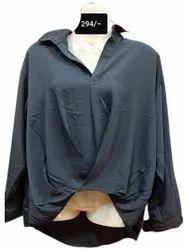 Full Sleeves Grey Ladies Stylish Hosiery Shirt