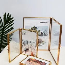 Wooden Golden Table Picture Frame In Glass And Brass, For Decoration, Size: Standard