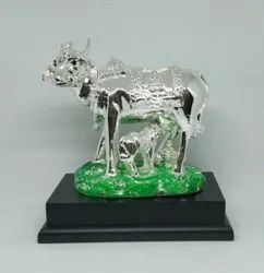Silver Plated Cow Calf Statue