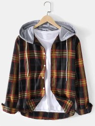 Cotton Printed Check Casual Drawstring Hooded Jacket