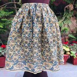 Cotton Skirts Long Printed Skirt, Size: Large