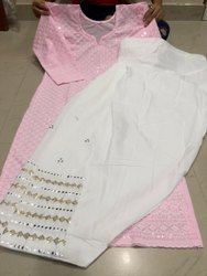 Stitched Pink Mirror Work Patiala Chikankari Suit, Handwash