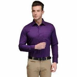 Plain Purple Men Cotton Formal Shirt, Machine wash, Size: Large