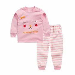 Pink Cotton Hosiery Kids Baba Suit Set