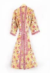 Ladies Block Printed Kimono Dress