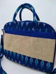 Blue Eco Friendly Rubis Jute And Ikkat Laptop Bag, Size: 15 X12