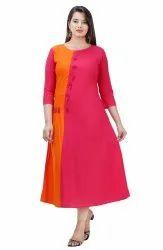 Pink & Yellow A LIne Maya Casual Kurti Wear, Wash Care: Machine wash