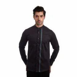 Premium Giza Cotton Full Sleeves Finnoy Men Black Plain Shirt, Size: 38 - 44
