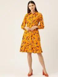 Rue Collection Puff Sleeves Women Mustard Yellow & Pink Printed Shirt Dress
