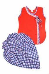 Red Cotton Kids Dhoti Kurta Dress For Girls, Size: 6 month to 10 year