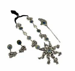 Balck Black Peacock Necklace With Earrings And One Juda Pin, Occasion: Anniversary, Size: Large
