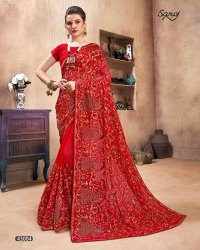 Red Color Kashmiri Work Saree