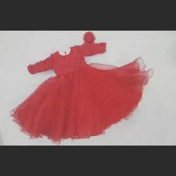 Kids Red Gown with here band