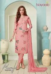 Straight Unstitched Nayaab Pink Masline Embroidered Suit, Dry Clean