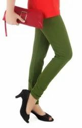 4Cats Churidar Ladies Ankle Length Green Cotton Legging, Size: 28-42