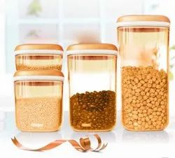 Plain Plastic Tupperware Food Storage Container Set, Packaging Type: Box