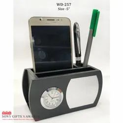 Round Oval Wooden Pen-Mobile Stand With Clock