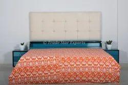 Indian Cotton Kantha Printed Queen Quilt Handmade Floral Printed Bedding Throw Kantha Quilt