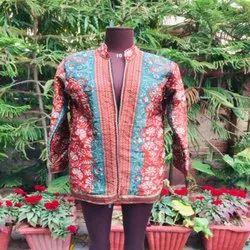 Collar Neck Multicolor Silk Jackets, Size: Xl