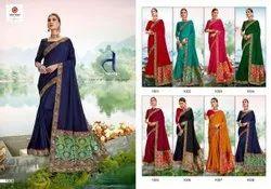 SEEMAYA Festive Wear Beautiful Vichitra Silk Saree, With blouse piece, 5.5 m (separate blouse piece)