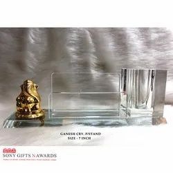 Lord Ganesh Ganpati Crystal Glass Pen Holder Stand