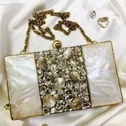 Designer MOP Brass Clutches