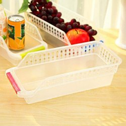 Om Enterprise Plastic Transparent Fridge Storage Basket, Size: 29 X 12.5 X 8.5 Cm