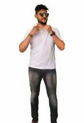 Cotton Half Sleeve Men Polo Collar T-shirt, Size: M-XXL