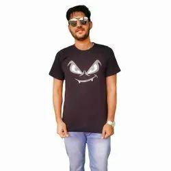 Round Half Sleeve Men Cotton Casual T-Shirt, Size: M-XXL