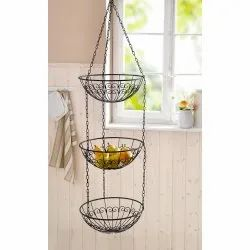 Paint Coated Round Iron Hanging Basket, For Home, Size: 12 Inches(diameter)