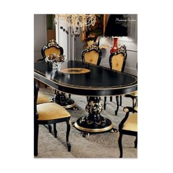 Wooden Black Dining Table Set