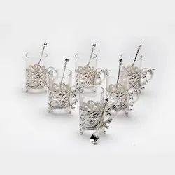 Stunning Camellia Festooned Glass Silver Mug Set (Set Of Six)