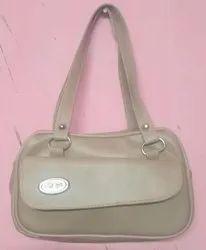 Gray Pu Leather Ladies Plain Fancy Hand Bag