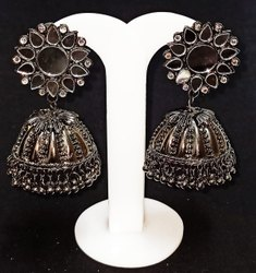 Alloy black Oxidized Mirror Earrings, Size: Big