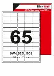 A4 LABEL SHEET LS65L ( 39mm X 21mm ) STICKWELL