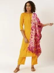 Jaipur Kurti Yellow Embroidered Straight Kurta With Palazzo and Dupatta