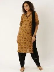 Jaipur Kurti Mustard printed straight short kurta with solid cotton Patiala and Dupatta