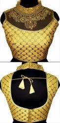 Silk Golden Gold-4 Hand Collar Blouse